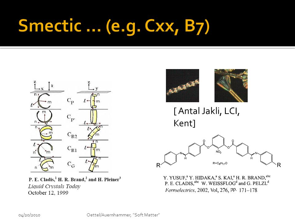 Smectic … (e.g. Cxx, B7) [ Antal Jakli, LCI, Kent] 04/20/2010